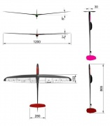 Планер F3K STILETTO lift  full carbon  V= 6º ARF уценка=5