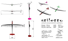 Планер F3K STILETTO Lift portable  full carbon  V=6º ARF уценка=5