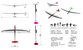 Планер F3K STILETTO Hot D-box carbon  V= 3º ARF уценка=4